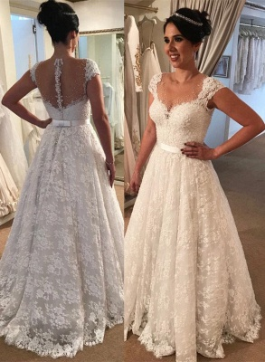 Modern Cap-Sleeve Lace A-line Zipper Wedding Dress_2