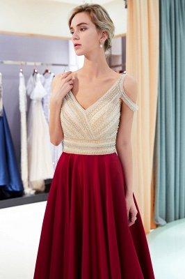 A-Line Burgundy V-Neck Sleeveless Prom Dress | 2019 Sexy Crystal Open Back Evening Dress_3