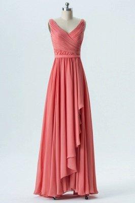 A Line Chiffon Hi-Lo V-Neck Sleeveless Bridesmaid Dresses with Ruffles_1
