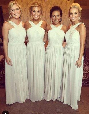 Elegant A-line Sleeveless Cross 2019 Chiffon Long Bridesmaid Dresses_3