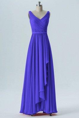 A Line Chiffon Hi-Lo V-Neck Sleeveless Bridesmaid Dresses with Ruffles_3