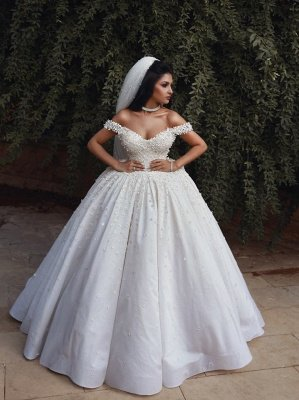Glamorous Off The Shoulder Beaded Appliques Ball Gown Wedding Dresses_4