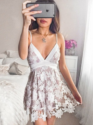 Sexy Spaghetti-Strap Homecoming Dresses | V-Neck A-Line Cocktail DressesBC2643_1