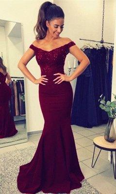 Elegant Mermaid Prom Dresses Beaded Off-the-Shoulder Dark Navy Evening Gowns_2