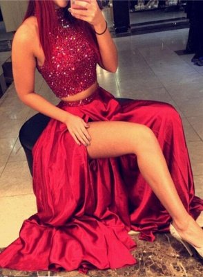 Red Two Pieces Prom Dresses, High Neck Slit Sexy Evening Gowns_1