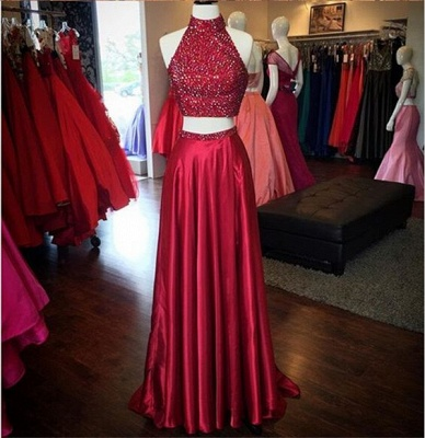 Red Two Pieces Prom Dresses, High Neck Slit Sexy Evening Gowns_3