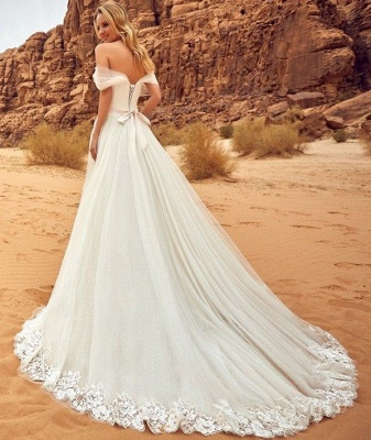 Simple Off-the-Shoulder Wedding Dresses | A-Line Backless Lace-up Bridal Gowns_3