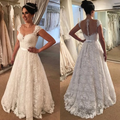Modern Cap-Sleeve Lace A-line Zipper Wedding Dress_3
