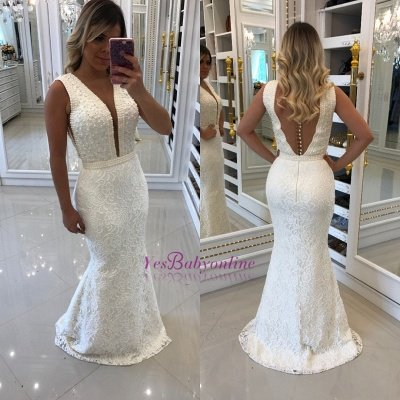 Floor-Length Beading V-Neck White Prom Dresses_1