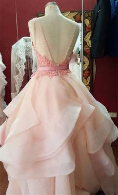 Organza Pearl-Pink Tiered Hot A-Line Open-Back Lace Prom Dresses_3