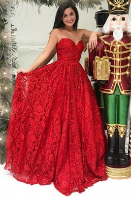 Red Lace Sweetheart Evening Dresses   A-line Simple Ball Dresses_1