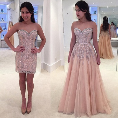 Gorgeous Beads Sweetheart Sleeveless Lace Prom Dress_3