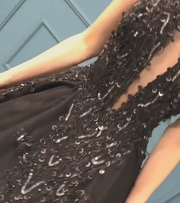 Stunning Sleeveless Beaded Sequined A-line High Neck Tulle Sexy Black Prom Dresses_5