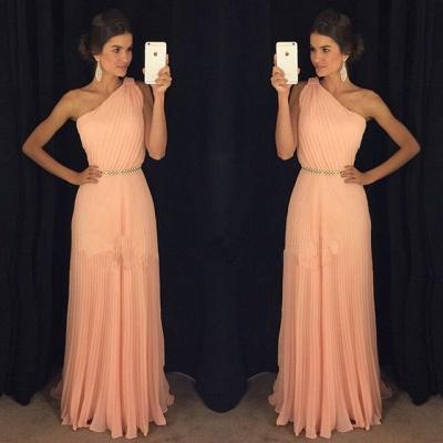 2019 One-Shoulder Prom Dresses Belt Accordion Floor Length A-line Prom Dresses_3