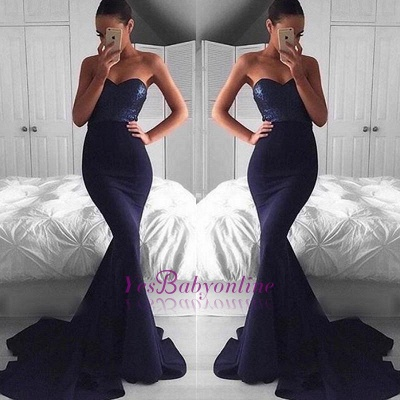 Sequins Sweep-Train Navy Glamorous Sweetheart Mermaid Evening Dress_1