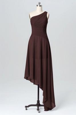 A Line Chiffon Hi-Lo One Shoulder Bridesmaid Dresses with Ruffles_4