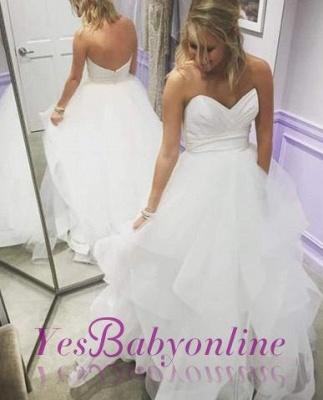 Sweetheart Long A-Line Empire Tiered Summer Ruffles Wedding Dresses_1