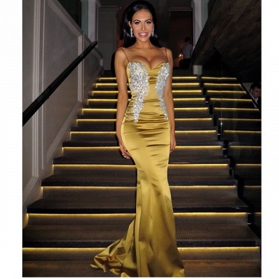 Applique Mermaid Sweetheart Spaghetti-Straps Sexy Long Prom Dresses_3