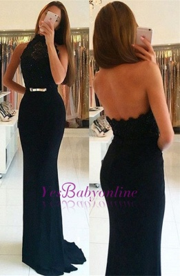 Black Halter Neck Prom Dresses | Sheath Backless Evening Gowns with Sash_1