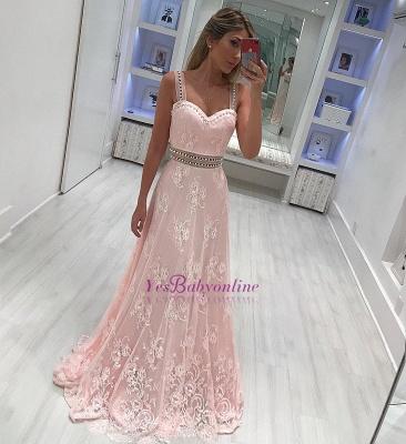 Strape lace A-line Elegant prom dresses_1