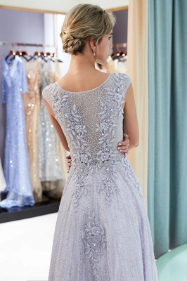 Elegant A-Line Lace Appliques Crystal Prom Dress | Sleeveless Long Evening Dress Online_5