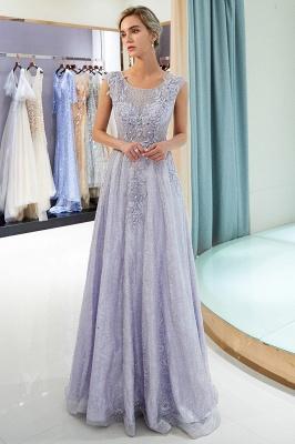 Elegant A-Line Lace Appliques Crystal Prom Dress | Sleeveless Long Evening Dress Online_2