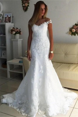 Off The Shoulder Lace Appliques Wedding Dress |  Cheap Discounted Bridal Gowns_1