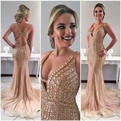 Crystal Straps Gorgeous Sweep-Train Mermaid Sleeveless Prom Dress_3
