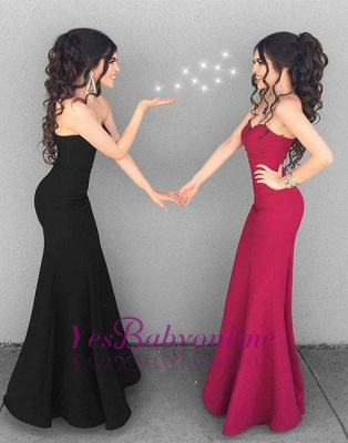 Mermaid Black Simple Long Sweetheart-neck Stylish Evening Dresses_1