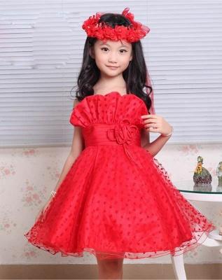 Cute A line Lace Spaghetti Straps Heart shape Pattern Flower Girl Dress_4