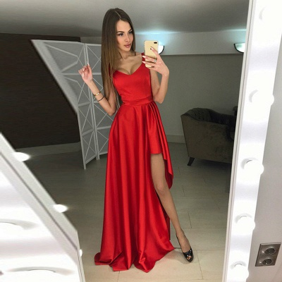 Modern Scoop Hi-Lo Sleeveless Red A-line Prom Dress_3