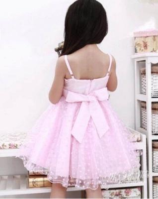 Cute A line Lace Spaghetti Straps Heart shape Pattern Flower Girl Dress_3