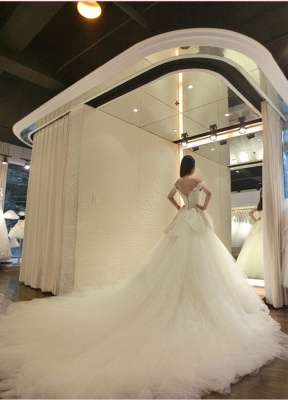 Tulle Modern Beaded Long-Train Lace-Appliques Off-the-shoulder Wedding Dress_3
