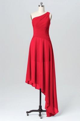 A Line Chiffon Hi-Lo One Shoulder Bridesmaid Dresses with Ruffles_2