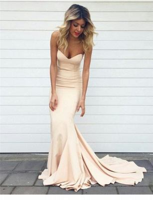 Simple Nude Mermaid Sleeveless Long Sweetheart-Neck Prom Dresses_2
