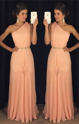 2019 One-Shoulder Prom Dresses Belt Accordion Floor Length A-line Prom Dresses_2