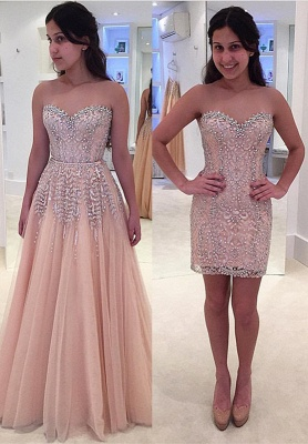 Gorgeous Beads Sweetheart Sleeveless Lace Prom Dress_2