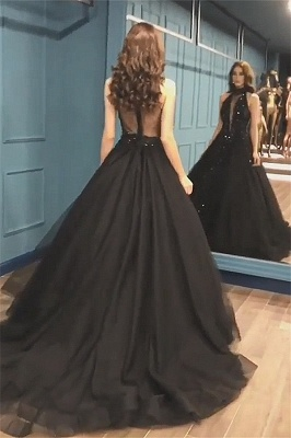 Stunning Sleeveless Beaded Sequined A-line High Neck Tulle Sexy Black Prom Dresses