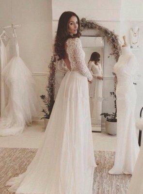 Chiffon V-neck Long Sleevess Sexy Lace Wedding Dress_2