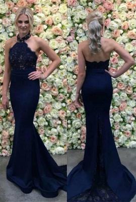 Halter Appliques Gorgeous Lace Long Navy Mermaid Evening Dress_2