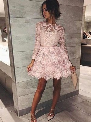 Chic Long Sleeves Homecoming Dresses | Scoop Pink A-Line Cocktail DressesBC0736_1