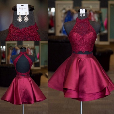 Cute Two Pieces Homecoming Dresses | A-Line Halter Neck Hoco Dresses_4