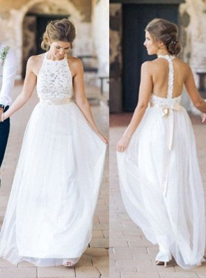 White Floor-length Halter A-line Simple Lace Sashes Wedding Dress_2