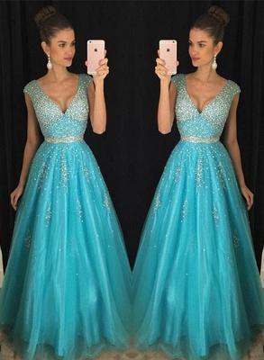 Fashion Crystal V-Neck Mesh  Blue Prom Dress_2