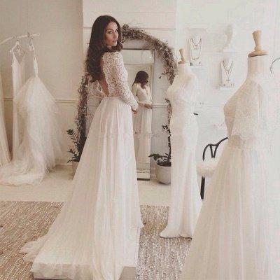 Chiffon V-neck Long Sleevess Sexy Lace Wedding Dress_3