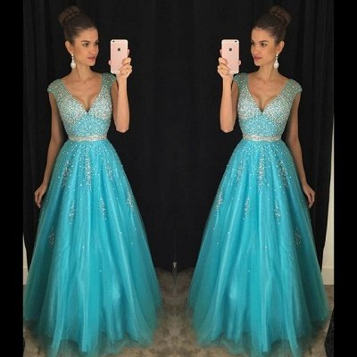 Fashion Crystal V-Neck Mesh  Blue Prom Dress_3