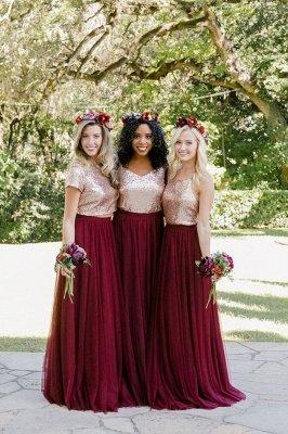 Burgundy Bridesmaid Dresses | Long Sequin Chiffon Maid of Honor Dresses_1