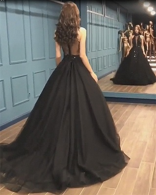 Stunning Sleeveless Beaded Sequined A-line High Neck Tulle Sexy Black Prom Dresses_4