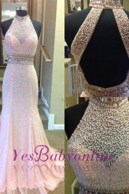 Fashion Crystal Two-Pieces Open-Back Sexy Mermaid Halter Prom Dress_1