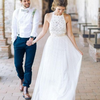 White Floor-length Halter A-line Simple Lace Sashes Wedding Dress_3